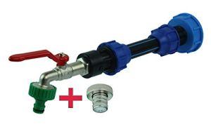 GASMIS Adaptateur IBC avec robinet S60 x 6 3/4 – Sortie 1″ et entretoise avec raccord de tuyau, douille et raccord de robinet, robinet pour citerne IBC