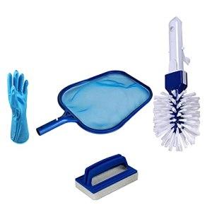 Goviells Pool&Spa Kit d'entretien de la piscine Kit d'entretien Base pour piscines, hors terre, piscine, sac à filet fin, brosse de nettoyage, gants pour piscine intérieure et extérieure