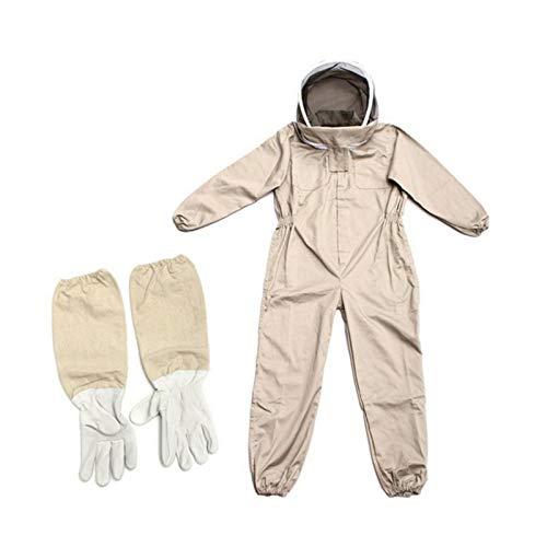 Gusengo Combinaison Apiculteur – Costume Équipement De Protection, Professionnel Anti Abeille avec Longs Gants Et Capuchon en Voile pour Apiculture Apiculteur (L, XL, XXL)