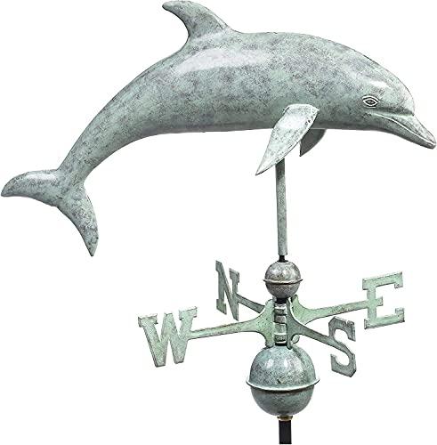 HAOHANYOUPIN Outils de Mesure Professionnels Dolphin Weatherervane Bleu Verde Cuivre Jardin Accessoires Weathervane girouette a Vent