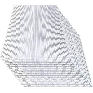 Hengda Plaques alvéolaires de rechange pour serre de jardin – 14doubles plaques alvéolaires en polycarbonate (60,5 x 121cm) – 4mm – 10,25m²