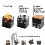 höfats – Cube brasero – comme Foyer, Gril, Tabouret et Table – pour Jardin et terrasse – Acier Inoxydable – Noir