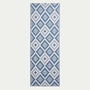 HOMESCAPES Tapis d'extérieur géométrique Bleu Mia, Tapis de Jardin 75 x 200 cm, Tapis de Sol extérieur et intérieur