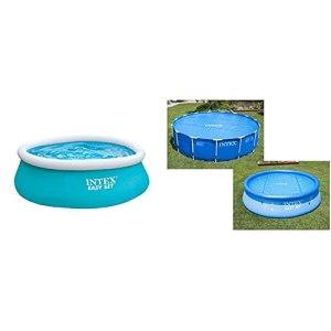 INTEX Piscinette Easy Set autoportante 1,83 x 0,51 m & Bâche à Bulles Bleu 206 x 206 x 1 cm