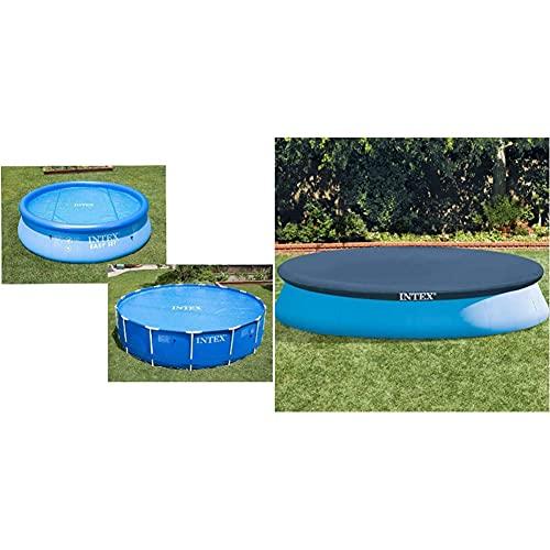 Intex-Bâche à Bulles Ø 3,66 m & Bâche de Protection pour Piscine Bleu 345 x 345 x 30 cm 28022 28022E