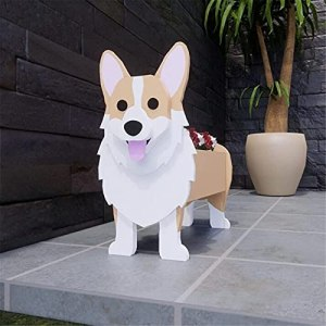 JHFVN Pot de fleurs en forme d'animal – Design unique et détaillé – Motif chien mignon – Pot de fleurs en ciment pour décoration de jardin, terrasse, cadeau de rêve pour les amoureux des chiens.