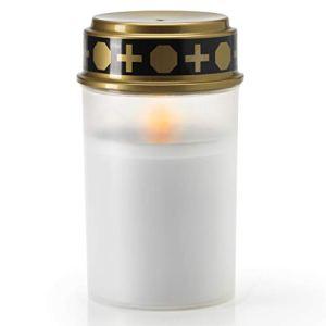 KELOPEST® Lanterne funéraire LED blanche avec batterie et durée d'éclairage de 6 mois – Bougie funéraire LED avec effet vacillant réaliste.