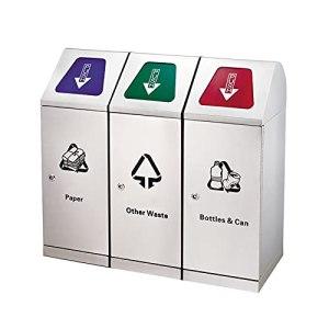 LICHUAN Lot de 3 poubelles d'extérieur en acier inoxydable pour recyclage des déchets – 3 organisations – Pour utilisation en intérieur/extérieur – Grande capacité – Couleur : lot de 3