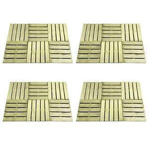 LIUBIAONET Tapis & revêtements de Sol Dalles de terrasse 24 pcs 50×50 cm Bois Vert