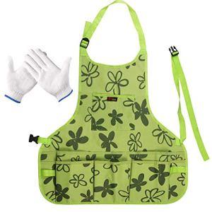LOPOTIN Tablier de Jardinage Femme avec Outils(Gants), Tablier de Jardin en Tissu Oxford 600D Tablier de Jardinage avec 14 Poches étanche pour Peintre Chef Coiffeurs Vert