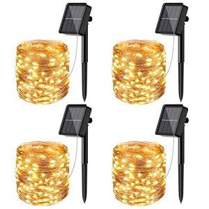 [Lot de 4] Guirlande Solaire Exterieur, Litogo 12m 120 LED Guirlande Lumineuse Solaire Exterieure Étanche 8 Modes Décoration Lumière pour Jardin Terrasse Cour Maison Noël Mariage Fête Blanc chaud
