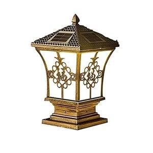 Lumière Solaire Lampe de Pilier d'extérieur IP65 Pouvoir étanche Éclairage Post Cap Cascoules en Aluminium Pilier de Pilier Courtyard Gate Pilier Pipper Pier Pier Tête Murale (Besoin de Batterie)