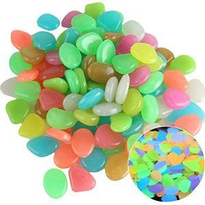 Lybring Lot de 100 galets phosphorescents pour décoration d'aquarium, allée, vase, allée