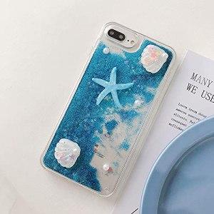 Miagon Coque Liquide Case pour Xiaomi Mi 10T,Sables Mouvants Glitter Sparkle Floating 3D Étui Transparent Housse Cover,Étoile de mer Bleu