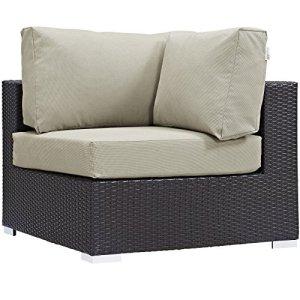Modway Convene Wicker Rattan Outdoor Patio Sectional Sofa Corner Seat in Espresso Beige