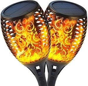 Nestling® Lampe torche de jardin solaire 96 LED Effet de danse de lumière de flamme réaliste, Lampes solaires étanches IP65 pour l'extérieur (2 Pack)
