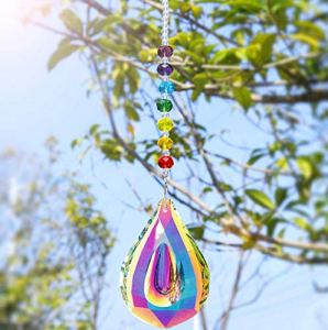 Nice Dream Attrape-Soleil en Perles de Cristal de Couleur Chakra avec Prisme AB de 76 mm pour fenêtre ou extérieur à Suspendre (Couleur AB)