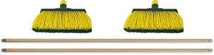 Novaliv Lot de 2 balais à griffes 30 cm en bois I Balai de jardin pour extérieur (balai + manche en bois, 30 cm)