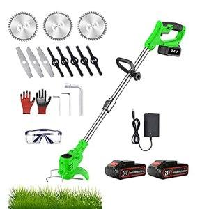 Nziqaz Débroussailleuse électrique sans fil avec batterie 24 V et 2 piles et lames en métal pour jardin et extérieur
