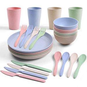 Odoland Camping Couverts Set, 24pcs camping vaisselle mess kit comprend des assiettes bols tasses fourchettes cuillères couteaux, et sac en filet pour Randonnée/Outdoor/Pique-Nique/Intérieur/Extérieur