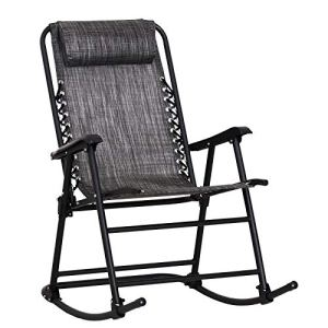 Outsunny Fauteuil à Bascule Rocking Chair Pliable de Jardin dim. 52L x 50l x 110H cm Acier époxy textilène Gris chiné