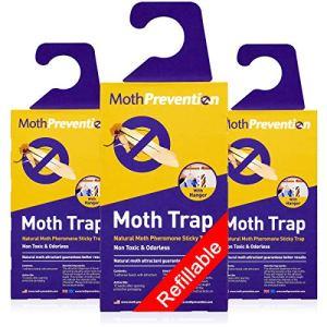 Pièges à mites puissants pour les mites de vêtements | Paquet de 3 | Rechargeable, sans odeur et naturel de MothPrevention | Meilleur taux de capture pour les pièges à mites textiles! – Résultats garantis…