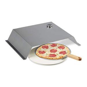 Relaxdays Four Pizza Barbecue, Pierre & Pelle, thermomètre, Accessoires, Acier INOX, 10 x 55,5 x 40 cm, argenté