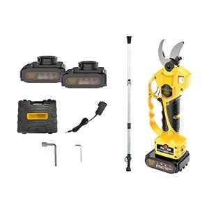 Sécateur électrique à branches – Ciseaux à bois – Ouverture de 4 cm – Design léger – Tige d'extension de 45 à 90 cm – Affichage de batterie rétractable