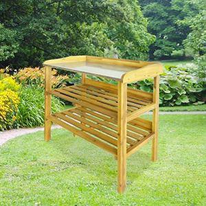 SKYLANTERN Table de Rempotage en Bois de Pin pour Rempoter et Bouter avec Plateau en Métal Galvanisé + 2 étagères sur Votre Terrasse ou Balcon 76 x 37 x 92 CM