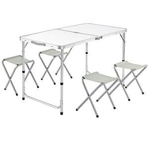 Table de Camping XXL 4 chaises Pliables Blanc Aluminium MDF poignée Transport 120x60x70cm Ensemble Camping Table de Jardin réglable