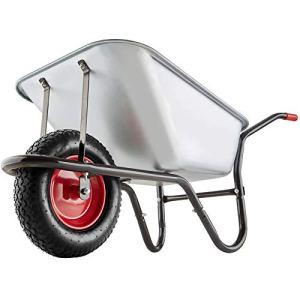 Tectake Brouette de Jardin Chariot de Transport 100 L Tout-Terrain max. 150 kg Bac Galvanisé 1 Grande Roue Pneumatique Robuste Des Crampons pour des Terrains Difficiles