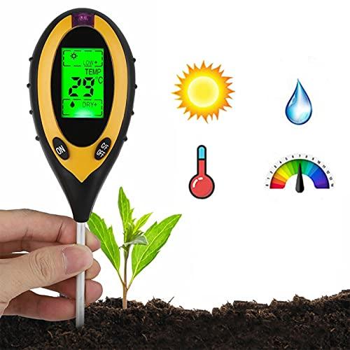 Testeur de Sol 4 en 1, KKmoon® Testeur Humidité Plantes Humidimètre Niveaux de pH Température Testeur d'intensité de la Lumière du Soleil Outil de Jardinage pour Pelouse de Ferme Intérieur Extérieur
