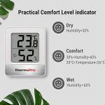 ThermoPro TP49 Petit Hygromètre Numérique D'intérieur Thermomètre D'ambiance Moniteur de Température et Humidimètre pour le Confort du Bureau à Domicile Thermomètre de Reptile, 2 Pièces