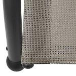 Tidyard Transat Bain de Soleil Chaise Longue Double avec Auvent Textilène Taupe