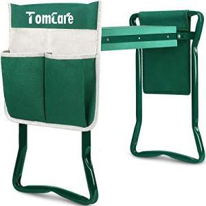 TomCare Tabouret de jardin pliable avec sac à outils, rembourrage en mousse EVA portable pour le jardinage (grand-55 x 27 x 48 cm, vert)