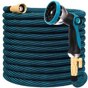 Tuyau d'arrosage extensible de 30,5 m – Tuyau d'arrosage flexible avec buse 10 fonctions, durable 3750D, connecteurs en laiton massif de 1,9 cm, rangement facile, tuyau d'arrosage sans nœuds.
