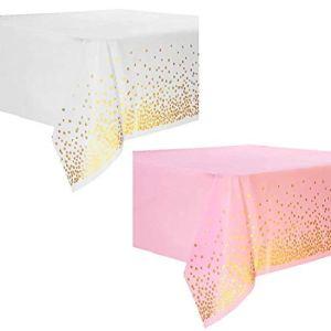 Ubrand KingYH Lot de 2 nappes jetables en plastique 137 x 274 cm avec confettis dorés pour fête, pique-nique, mariage, anniversaire, décoration de table rectangulaire rose et blanc