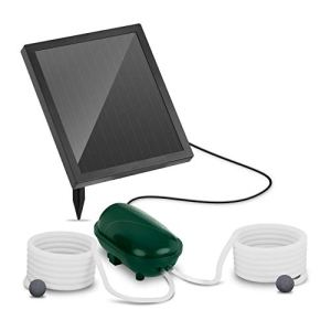 Uniprodo Pompe À Air pour Bassin Aérateur Solaire UNI_Pump_03 (2 Pierres D'Oxygénation, 200 l/h d'air, Portée De 5 m, Module Photovoltaïque 1,4 W, Batterie)