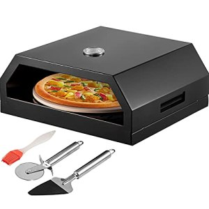 VEVOR Four à Pizza Extérieur Acier Inoxydable Boîte à Pizza Barbecue Gaz Bois Pierre Cuisson Céramique Cordiérite 30,5 cm Box sur Feu 24-232 ℃ pour Viande Légumes Jardins Terrasses Patios 42x37x19 cm