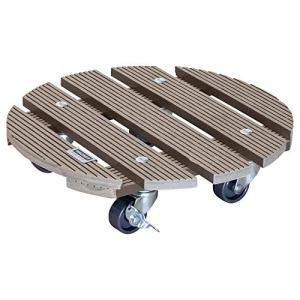 WAGNER Chariot de Plantes WPC Ø 29 x 7 cm   Porte Plante pour intérieur + extérieur   Support Roulant en Composite Bois-Plastique, Taupe, 2 Freins   Capacité de Charge 100 kg – 20053601