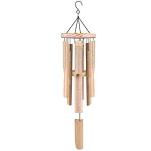 Windspiele Bambus, Outdoor-Garten Indoor-Windspiel mit natürlichem, entspannendem Klang, 6 handgeschnitzten Bambusröhren und einem Haken, ideal für Geschenke zu Hause (hängende Länge 83 cm)