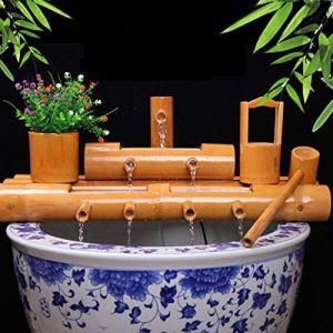 WYDM Fontaine en Bambou Décor Fontaine en Bambou Jardin Caractéristique de l'eau Fontaine Pompe Décor Sculptures Statues Décoration de La Maison Arts Artisanat Oeuvre d'art Artisanat, 70cm