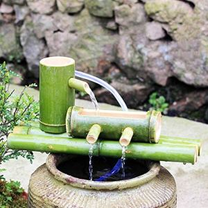 WYDM Kit de Fontaine en Bambou Fontaine à Eau Basse en Bambou Solaire avec Pompe, Cascade de décoration Zen Japonaise Cascade intérieure/extérieure en Bambou, Longueur 40 cm