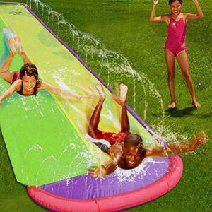 YANQIN Double glissière d'eau d'enfants, Double glissière de Jardin de Planche de Surf 480CM, glissière d'eau résistante à la déchirure de pelouse extérieure
