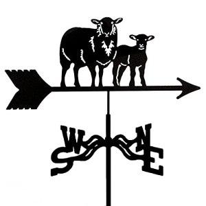 YDHNB Girouette de Indicateur de Direction en Acier Inoxydable Ornement Décoration Orientation du Vent Indicateur pour Extérieur Montage sur Toit – Mouton et Agneau