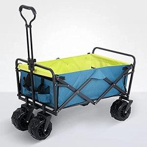 Yongqin Chariot de pique-nique Yongqin – Chariot de plage compact et pliable – Pour l'extérieur, pique-nique, camping – Avec porte-gobelets – Bleu