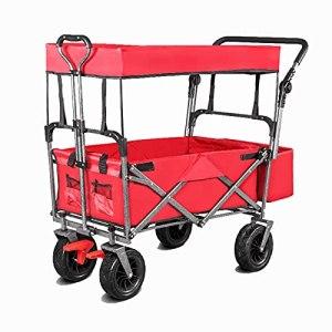 Yongqin Yongqin Chariot de pique-nique pliable avec auvent, chariot utilitaire de plage portable à roulettes pour jardin, plage, camping, shopping, sport, courses, rouge