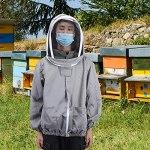 Zhjvihx Veste d'apiculture, Veste de Voile d'apiculture, de Haute qualité, Douce, Pliable, pour Apiculteur, protectrice,(Grey)