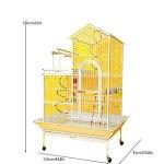 zlw-shop Cage à Oiseaux Grande Villa de Style Toit Cage d'oiseau en métal Cage Cage Cage Cockatoo Peroclet Cage Châssis Mobile et Stand interactif Nichoirs (Color : White)