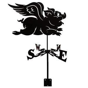 ZOSUO Girouette de Jardin Exterieur Indicateur de Direction du Vent Girouette en Métal de Toit Rétro Ferme Outil de Mesure (Cochon Volant)